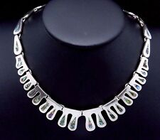Vintage Taxco Mexico Mexican Sterling Silver Shell Modernist Necklace 22215