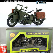 1:6 ZY TOYS Diecast/Plastic WWII US Army Harley Davidson Motorcycle Figure Toy
