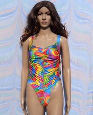 Vintage 1990s Colourful High Leg Swimming Costume Swimsuit Rouched BNWT 8-10