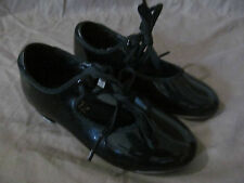 GIRL'S DANSHUZ STAR TONE DANCE FOOTWEAR BLACK PATENT LEATHER TAP SHOES SIZE 10