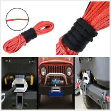 """Heavy Duty 1/4""""X50' Dyneema Synthetic Red Car Off-Road Winch Cable Recovery Rope"""