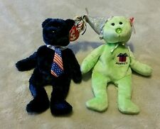 Ty Beanie Baby August  Bear Birthday  and Pops 2002 , lot of 2, Green and Blue
