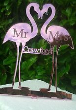 NEW Our Flamingo Mr & Mrs plus surname Wedding cake Toppers