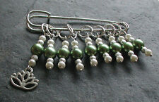 Knitting Stitch Markers Olive Glass Beads Lotus Flower Handmade Set of Nine