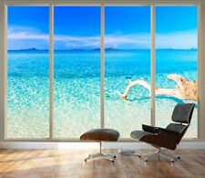 Tropical Beach Seen Through Sliding Glass Doors |3D Visual Vinyl Wallpaper-66x96
