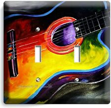 ACOUSTIC GUITAR ABSTRACT MODERN ART MUSIC DOUBLE LIGHT SWITCH WALL PLATE COVER