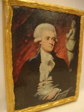 Thomas Jefferson American Icon Gold Art Antique style on Real Pine Wood Plaque
