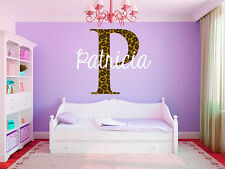 "Leopard Print Monogram Name Girls Room Vinyl Wall Decal Graphics 15"" Tall"