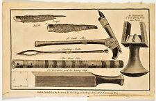 Antique print from Captain Cook's Voyages, of various tools