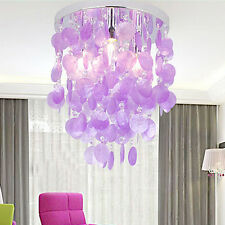 New Purple Crystal Shell Pendant Lamp Chandelier Lighting Ceiling Fixtures Light