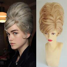 DELUXE BLONDE SHORT BEEHIVE 60'S MOD BOUFFANT FASHION COSTUME WIG