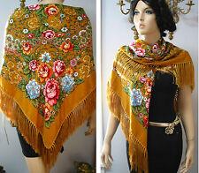 """Russian Ukrainian Gypsy Shawl Floral w/Fringes 49""""/125cm Woolen NWT #98a"""