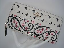 COACH BUTTERFLY BANDANA ACCORDION ZIP AROUND WALLET~CHALK/BRIGHT PINK~59063~NWT