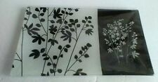 Decorative Glass Tray Black White Floral 9.5'' Long 5.5 '' Wide