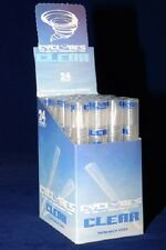 CLEAR CYCLONES Box of 24 packs/48 PreRolled CLEAR Cigar Tube Cones FREE Shipping
