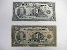 2 X 1935 Bank of Canada $1 - One Dollar Bank Note French and English