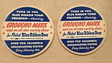 Lot 2 Pabst Blue Ribbon 1943 Coasters Groucho Marx Columbia Radio CBS Show 3.5""