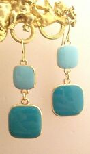 DESIGNER STATEMENT Pierced Earrings Enamel Turquoise Blue BOUTIQUE 10O