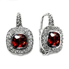 PAVE CUSHION CUT CLEAR & RED CZ LEVER BACK HALO HOOP EARRING -BRIDAL