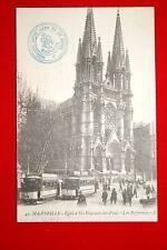 MARSEILLE EGLISE ST VINCENT DE PAUL-LES REFORMES TRAMWAYS 1916