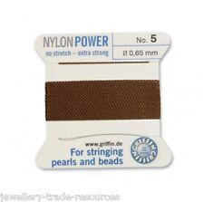 Marrón Nylon Potencia sedoso Cadena Hilo 0.65 Mm Encordar Perlas Y Cuentas Griffin 5