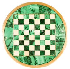 """15"""" Green Marble Coffee Chess Table Top Malachite Inlay Art Mosaic Outdoor Decor"""