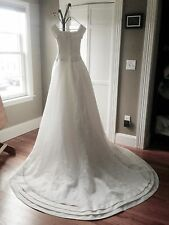 Oleg Cassini Wedding Gown Classic Cap Sleeve Pleated Sz. 4