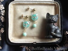 Czech cat EARRINGS Givres glass deco mint green turquoise to match cat necklaces