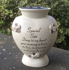 Memorial For Special Son Heart Shaped Grave Flower Vase Rose Bowl Ornament 14870