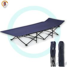 Camping Bed Folding Stretcher Light Weight With Carry Bag Camp Portable Navy