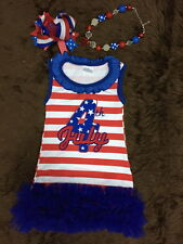 girls toddler childrens tutu dress 4th of july outfit chevron patriotic 6t