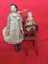 Muñecas Antiguas De Madera Casa De Muñecas, bebé y su niñera, escala 1/12, C 1920