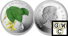 2010 Maple Leaf Crystal Raindrop Color & Crystal Prf $20 Silver .9999(12683) NT