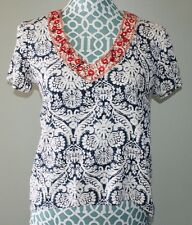 Buttons white blue red high low hem short sleeve v neck shirt womens size S