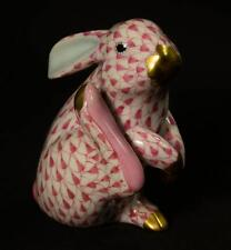 Herend Scratching Bunny Porcelain Figurine, VHP---15387, Raspberry Fishnet