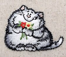 Iron-On Applique Embroidered Patch Gray Kitten Kitty Cat with Red Yellow Flowers