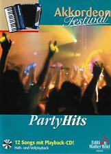 Akkordeon Noten : PARTY HITS 12 Songs mit Playback-CD  leMittel bis mittelschwer
