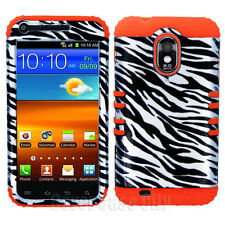 Hybrid Hard Cover for Samsung Galaxy S II S2 Sprint Silver Zebra Orange Case