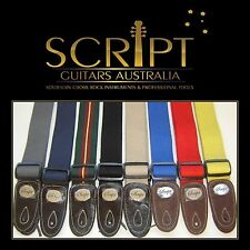 "100% Leather Ends SCRIPT ""HEAVY DUTY"" Electric, Acoustic, Bass  Guitar strap"