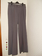 M&S SZ 10L  FLAT ZIP FRONT TROUSERS TAUPE STRIPE BOOTLEG WITH STRETCH W30  L33