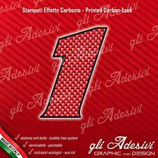 Adesivo Stickers NUMERO 1 moto auto cross gara Carbon Effect Red 5 cm