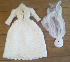 Vintage White Crocheted Barbie Doll Wedding gown with veil.