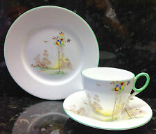 "Shelley Oxford Shape ""Balloon Tree"" Pattern Tea Cup Trio."