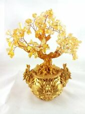 Feng Shui Citrine/ Yellow Crytal Gem Money Tree with Chinese Dragon Pots for Wea