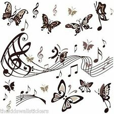 GIANT MUSIC NOTES BUTTERFLY BLACK Wall Sticker Decor Art  Room 90X60