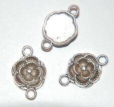 10 x Pretty ROSE FLOWER Joiner Connector - Antiqued Silver Plate ~ 18mm