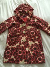 Boden Ladies Pretty Coat Jacket Mac Size 16 Red Brown Cream Floral Smart Hooded