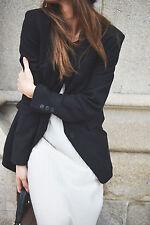 Zara studio pure laine masculine oversize noir blazer veste xs-s rrp £ 119.00