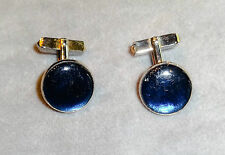 Vintage 1950s Swank Signed Cufflinks~16 mm Round~Gold Tone w/Royal Blue Resin