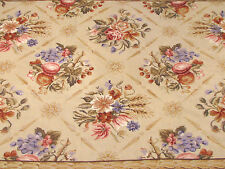 """Vintage AUBUSSON STYLE NEEDLEPOINT TAPESTRY RUG - 46"""" X 67"""" - FLORALS"""